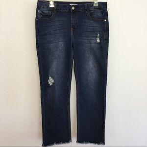 Kensie Crop Jeans Denim Blue Crop Distressed Sz 10